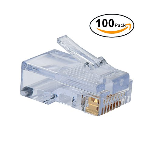 8c Modular Plugs (ElementDigital(TM) 100pcs RJ45 Plug Cat5E Cat5 Rj-45 Lan Connector Crystal Head Network (White))