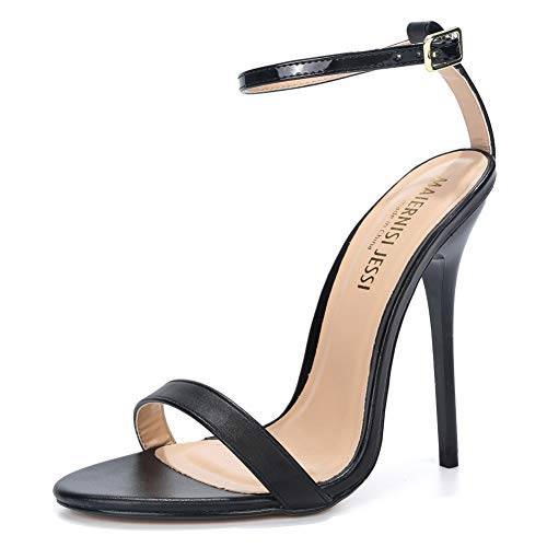 MAIERNISI JESSI Unisex Men's Women's Ankle Strap 5.1 Inch Stiletto Super High Heel Dress Sandals Matt Black EU47 - Size 15 M US Women / 13.5 M US Men -