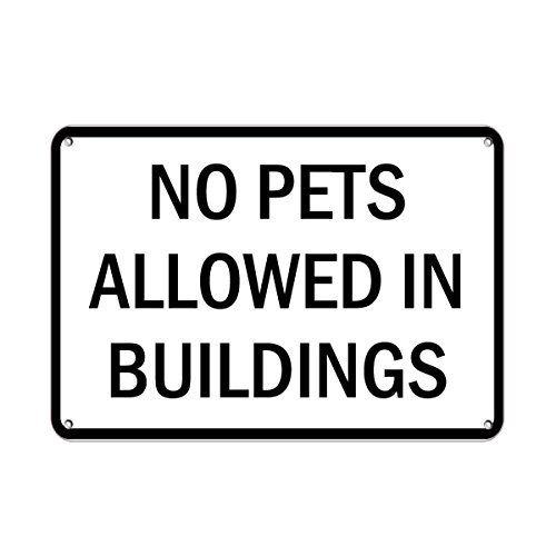 No Pets Allowed In Buildings Pet Animal Sign Aluminum Metal Sign 12 X 18 Inch (Tin Baseball Puzzle)