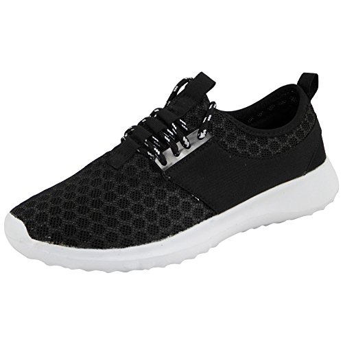 Womens Size Slip 3 Lace Sports White Running Shoes On 8 Up Trainers Fitness Ladies Gym New Black FwUtq7AI
