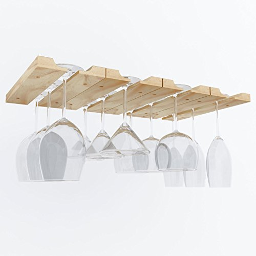 Hanging Under Cabinet Stemware Wine Glass Holder Rack , Adjustable Natural Wood , Pack of 2