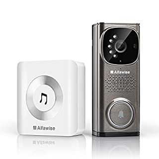 Wi-fi Video Doorbell Video Intercom, Alfawise Wireless Doorbell 720p HD 2.4Ghz wifi Security NVR Camera with Motion Detection, Night Vision Function, IP65 Weatherpoof, App Control for IOS and Android