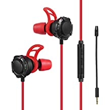 Wired Gaming Earphone with Detachable Mic, 3.5mm E-Sport Earbud Noise Cancelling Stereo Bass In Ear Headset, Compatible with PS4, Xbox One, Nintendo Switch, Cellphone, PC (Red Black)