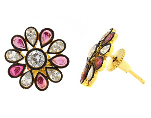 the-jewelbox-7-stone-flower-kundan-polki-cz-sapphire-pink-gold-plated-stud-earring-for-women