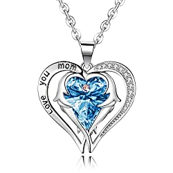 Love You Mom Heart Pendant Necklace with Angle Wing