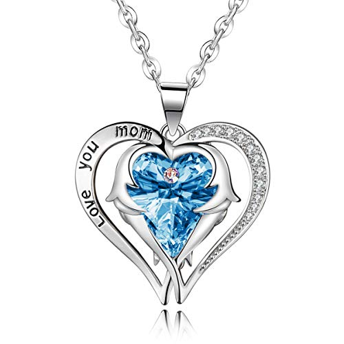 Firsteel Mothers Day Necklace Gift Love You Mom CZ Angle Wing Heart Pendant Necklace for Women Wife