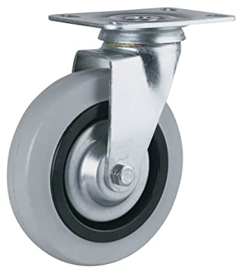"""Revvo Caster Sovereign Series Plate Caster, Swivel, Rubber Wheel, 264 lbs Capacity, 4"""" Wheel Dia, 1-3/16"""" Wheel Width, 5"""" Mount Height, 4"""" Plate Length, 3-1/8"""" Plate Width"""