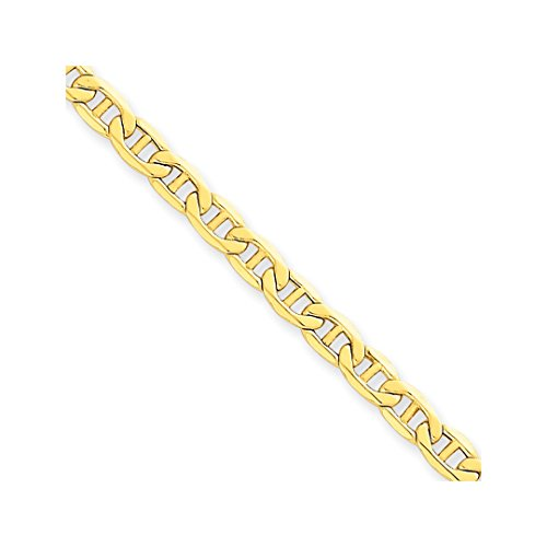 Anchor Links 14k Gold Bracelet (ICE CARATS 14k Yellow Gold 4.1mm Link Anchor Bracelet Chain 7 Inch Fine Jewelry Ideal Mothers Day Gifts For Mom Women Gift Set From Heart)