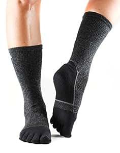 ToeSox Sport Perfdry Medium Weight Crew Socks, X-Small, Black