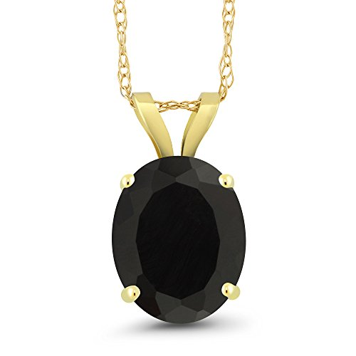 Gem Stone King 2.50 Ct Oval Black Onyx 14K Yellow Gold Pendant With Chain