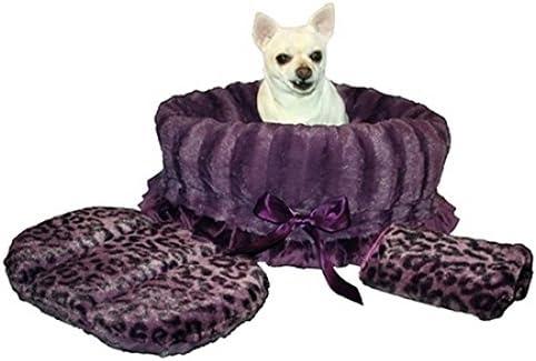 Pet Flys Purple Cheetah Reversible Snuggle Bugs Pet Bed, Bag and Car Seat in One