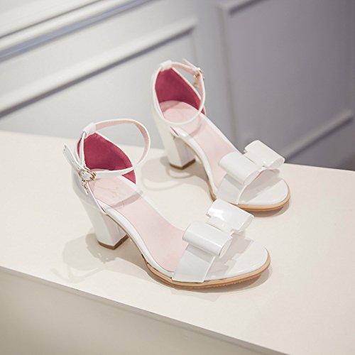ZHZNVX Nuevos zapatos de mujer de verano dedo abierto con boca baja Versión coreana de la correa de tobillo arco sandalias de tacón grueso White