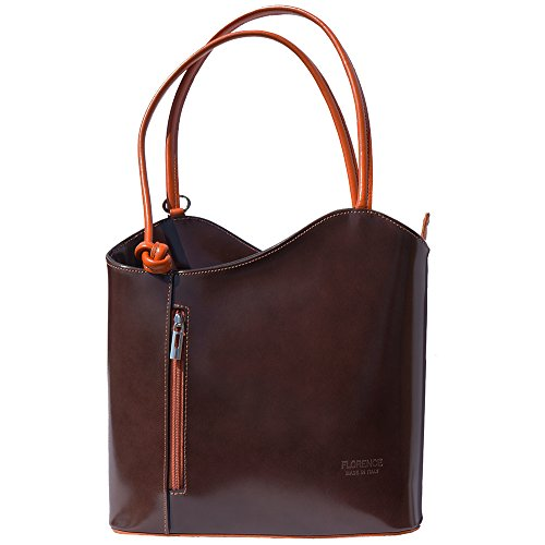 Convertible backpack and shoulder bag 207 Dark brown-leather