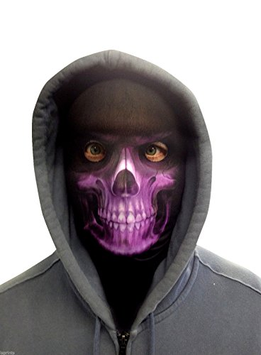 FACE SKINZ - PURPLE SKULL FACE Lycra Face Mask -