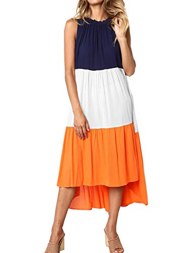 Women's Summer Casual Sleeveless Pleated Swing Dress Sundress (Medium, 01 Orange)