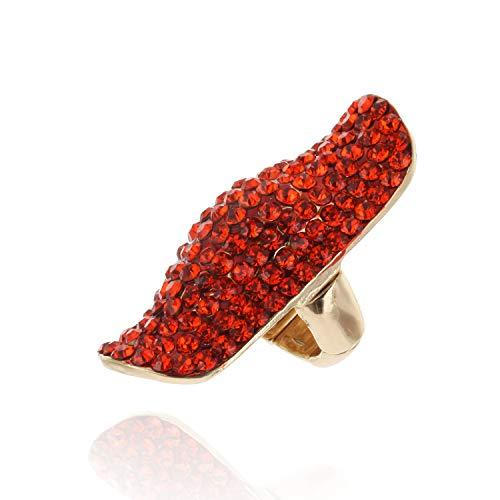 Orange Flower Ring - SP Sophia Collection Half Finger Long Fully Studded Adjustable Rhinestone Ring in Orange
