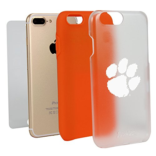 Dog Protector Case - Guard Dog Clemson Tigers Clear with Orange Hybrid Case for iPhone 7 Plus/8 Plus with Guard Glass Screen Protector