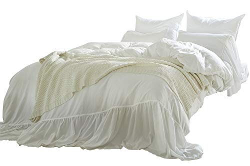 Omelas White Washed Cotton Duvet Cover Set King Size Mermaid Tail Fringe Ruffle Comforter Cover Solid Color Vintage Bedding Farmhouse Romantic, 1 Duvet Cover + 2 Pillow Shams (3pcs, King)