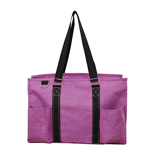 NGIL All Purpose Organizer Medium Utility Tote Bag 2018 Spring Collection (Crosshatch Fuchsia)