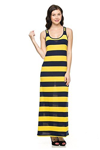 G2 Chic Women's Soft Summer Sleeveless Maxi Dress with Stripe or Solid Design(DRS-MAX,YEL-S) (G2 Chic Maxi Dress)