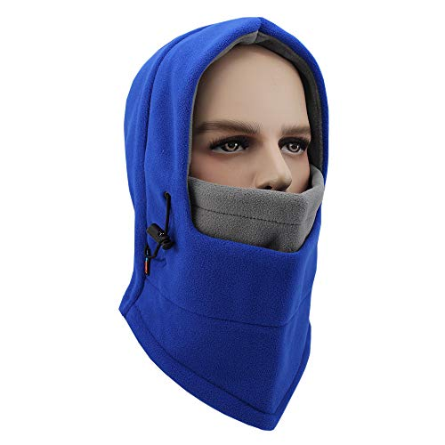 YDIOLM Balaclava Double Layer Polar Fleece Mask, Windproof Ski Sports Hood, Cold Weather Face Mask Motorcycle Neck Warmer Helmet Liner Thermal Scarf Winter Headgear for Skiing Fishing (Blue/Grey)
