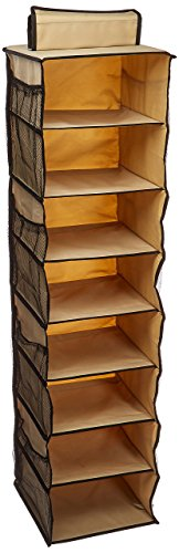 Organize It All 8 Shelf Hanging Closet Organizer with Side Pockets, Collapsible