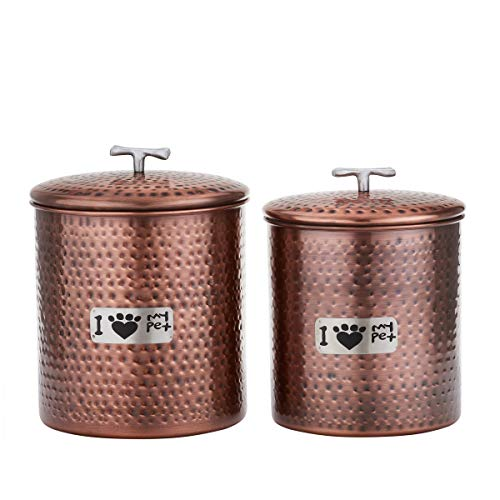 (MISC Antique Hammered Copper Canister Set of 2, Brown Pet Jars Kitchen Decor Dog Treat Containers, Stainless Steel)