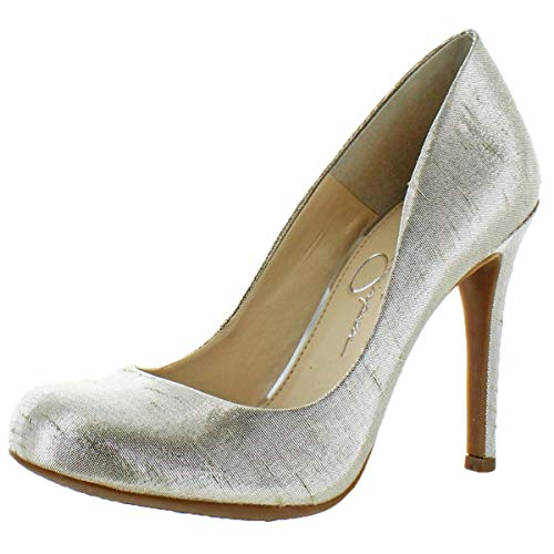 (Jessica Simpson Women's Calie Round Toe Classic Heels Pumps Shoes Silver Size 8)