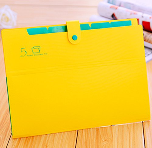 Kobest 5 Pockets Expanding file folder Accordion document Organizer,A4 Size and letter with Bouton closure For School and Office uses(Yellow)