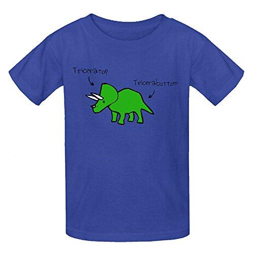Triceratops Tricerabottom Boys' Crew Neck Personalized T Shirt Blue