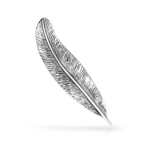 925 Sterling Silver Feather Nature Leaf Brooch Pin - Sterling Silver Quill