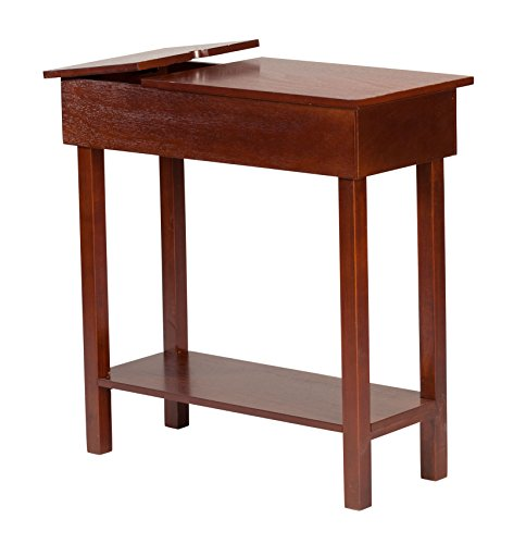 OakRidge Chairside Table with USB Power Strip, 11-in. Wide, Brown Wood Finish