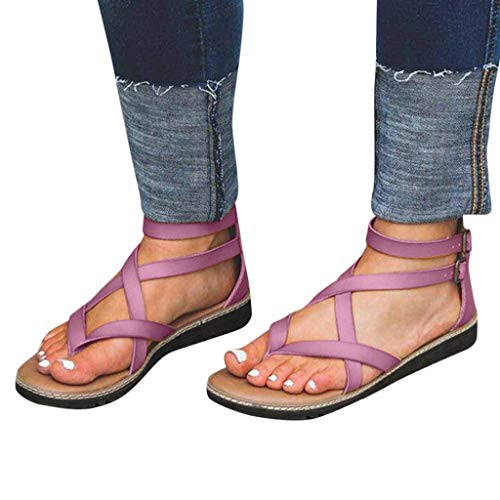 Women's Rome Beach Sandals Fashion Buckles Flat Ankle Shoes Flip Flops Shoes Cross-Tied Elastic Band Party Shoes by NEARTIME -