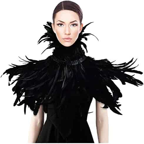 HOMELEX Gothic Black Natural Feather Cape Shawl with Choker Collar