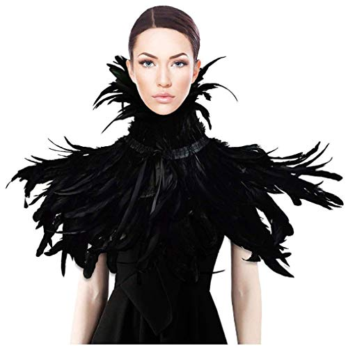 HOMELEX Gothic Black Natural Feather Cape Shawl with Choker Collar -