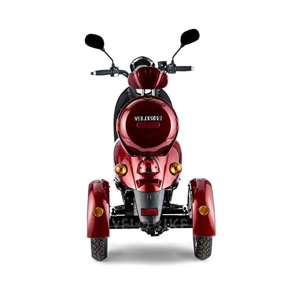 VELECO ZT63 Scooter elettrico 3 ruote per anziani e disabili Seniors Allarme 650W ROSSO 5 spesavip