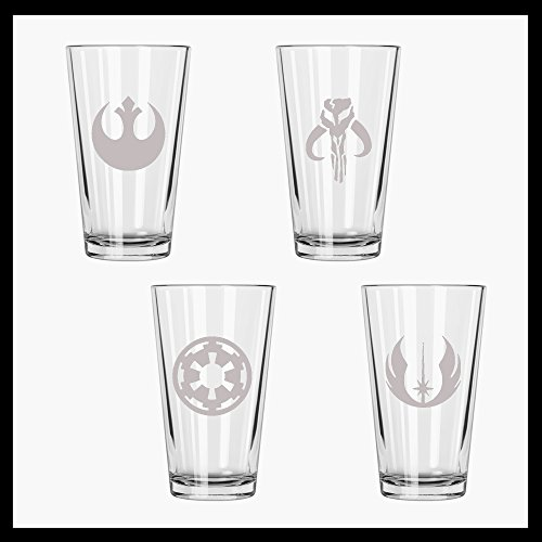 (Star wars inspired Etched Pint Glass Set of FOUR. Rebel Alliance, Mandalorian, Jedi Order and Galactic Empire.)