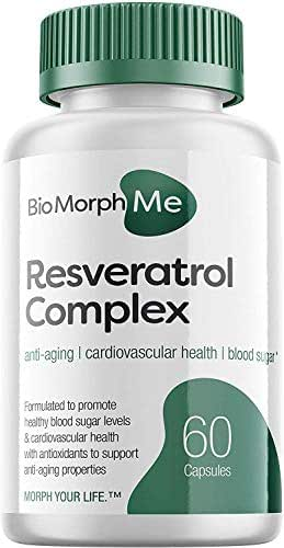 Resveratrol Supplement Complex - 600mg Formula with Trans Resveratrol - Promotes Anti-Aging, Cardiovascular Health and Blood Sugar Support - 60 Veggie Capsules