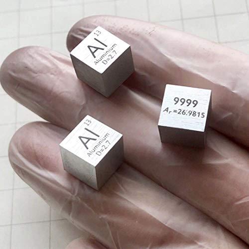 - 99.99% Pure Aluminum Al Metal Cube Element Periodic Table 10mm 2.7g