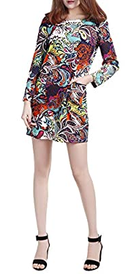 SexyTown Women's Print Mini Dress Long Sleeve Casual Dresses With Pockets