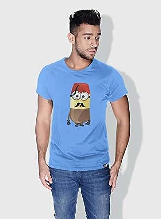 Creo Turkey Minions Round Neck T-Shirt For Men - Blue, S