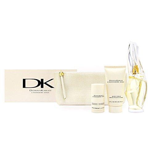 DONNA KARAN CASHMERE MIST 4 PCS GIFT SET FOR WOMEN Eau De Parfum Spray 3.4 Oz / 100, Body Creme 2.5 Oz / 75 ml, Deodorant/Antiperspirant 1.0 Oz / 30 g, Cosmetic Bag BRAND NEW GIFT SET