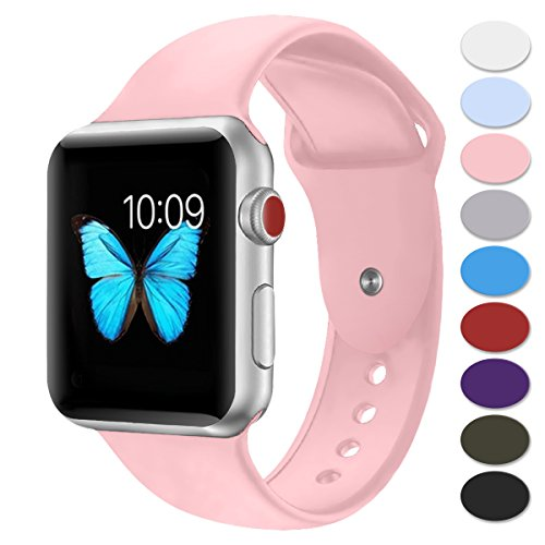 Pink 2 Strap - Sport Band for Apple Watch 42mm,Misker Soft Silicone Strap Replacement Wristbands for Apple Watch Sport Series 3 Series 2 Series 1 Nike+ Sports and Edition (42SM Light-Pink)