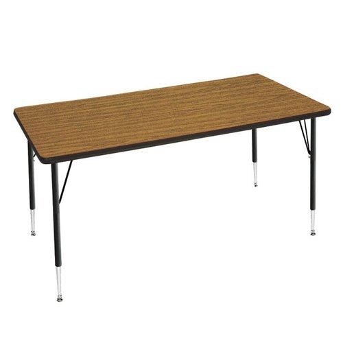 Adjustable Height Rectangular Folding Table (Virco 4000 Series Adjustable Height Rectangular Utility Table, Medium Oak Top/Char Black Edge)