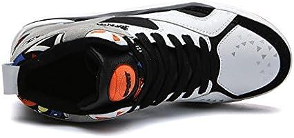 JIAOZHIDAO Zapatillas de Baloncesto Zapatillas de Running Zapatos de Hombre Amortiguación Transpirable Cojín de Aire Al Aire Libre Deportes Slip Resistente, Blanco, UK 7/EU 40: Amazon.es: Deportes y aire libre