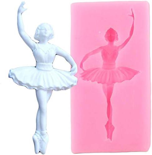 ダンサーシリコーン金型バレエ少女カップケーキトッパーフォンダンケーキデコレーションツール diy ベーキングキャンディー粘土チョコレート gumpaste 金型