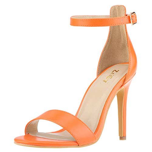 ZriEy Women's Heeled Sandals Ankle Strap High Heels 10CM Open Toe Bridal Party Shoes Orange Size 7