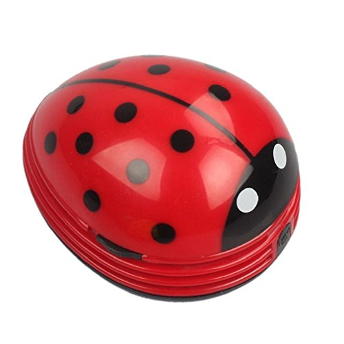 E ECSEM Cute Portable Beetle Ladybug cartoon Mini Desktop Vacuum Desk Dust Cleaner (Red#002)
