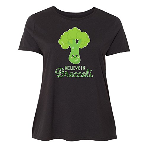 inktastic Believe In Broccoli Women's Plus Size T-Shirt 1 (14/16) Black