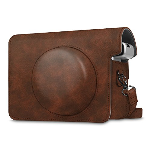 Fintie Protective Case Compatible with Fujifilm Instax Wide 300 Instant Film Camera - Premium PU Leather Protective Bag Cover with Removable Strap, Vintage Brown